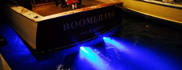 Dock A Vintage Rybovich Fitted With 2 X 2010 Super Blue Thru Hull Underwater Led Boat Lights On Transom 1 X 2010 Super Blue Fish Strobe Out From Bottom 40
